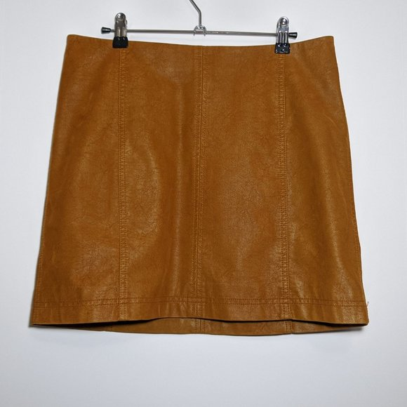Free People Tan Faux Leather Mini Skirt Size L